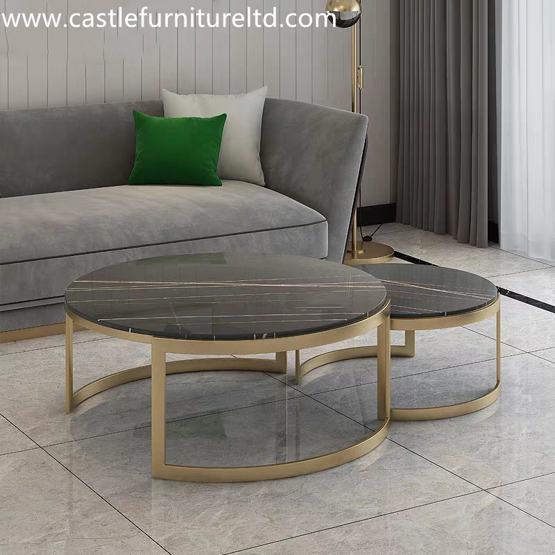Marble and stainless steel coffee table