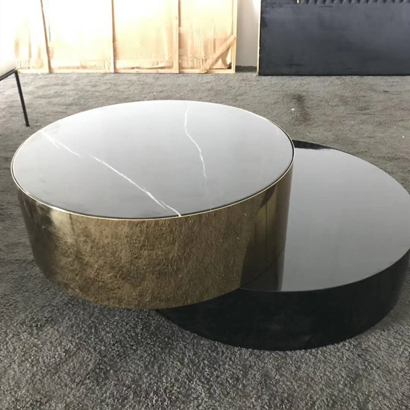 Stainless steel and marble with coffee table